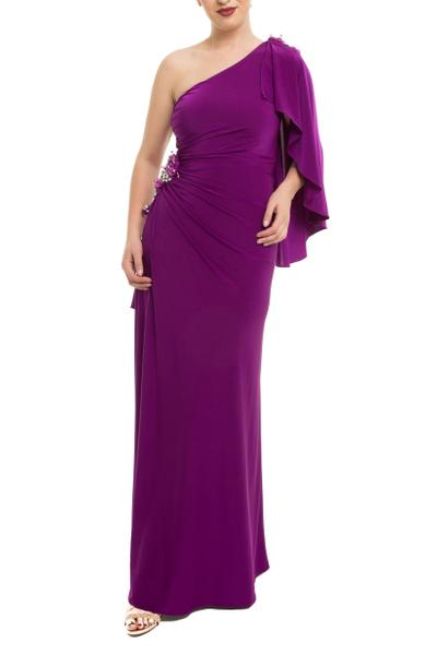 Ball gown with one side off shoulder and rhinestones