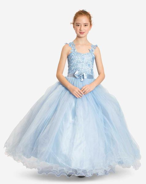 Children's bridal dress with embroidery and bow