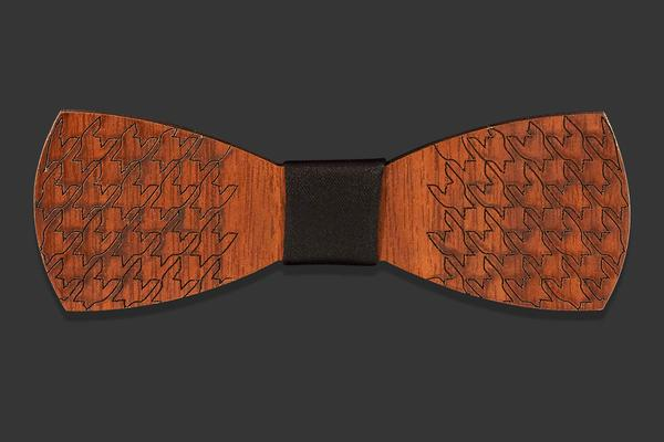 Wooden bow tie with fish scales