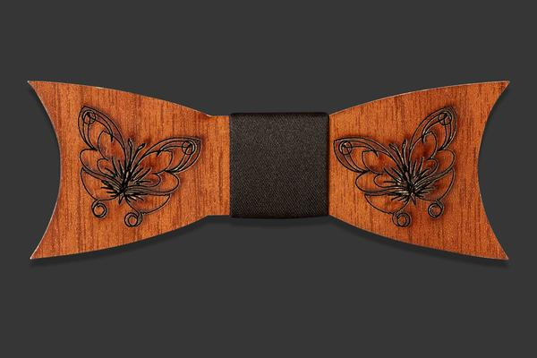 Wooden bow tie with butterfly