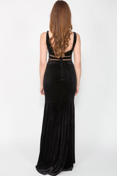 Beautiful velvet dress with cut-outs