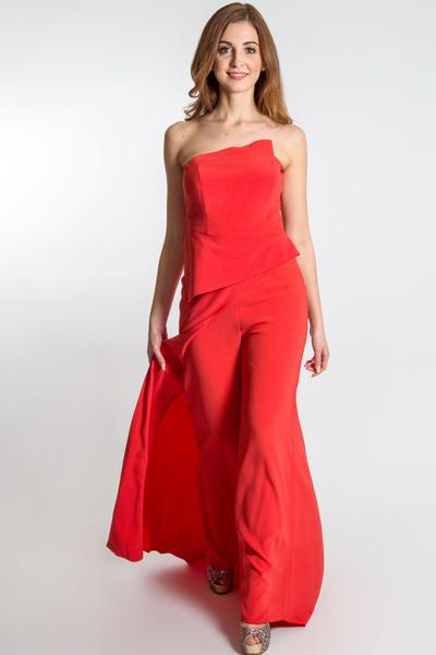 Special style mix in bright red Jumpsuit with train