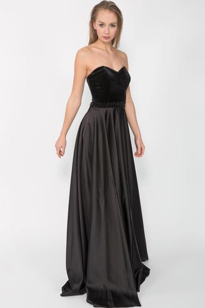 Elegant evening gown made of velvet and satin with stones
