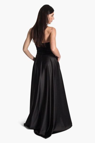 Samt-Satin Kleid lang
