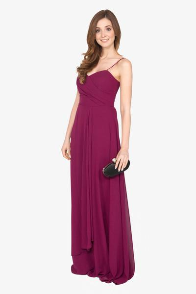 Red evening dress with delicate details