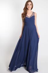 Simple and elegant evening dress with transparent neckline