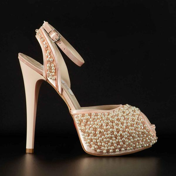 Platform peep toe with beads & lace up