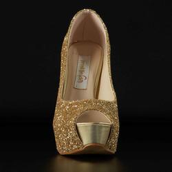 High heel peep toe with plateau
