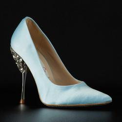 Stiletto with stone-studded heel