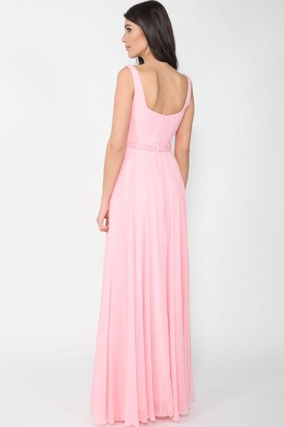 Romantic evening dress with embroidered waist yoke
