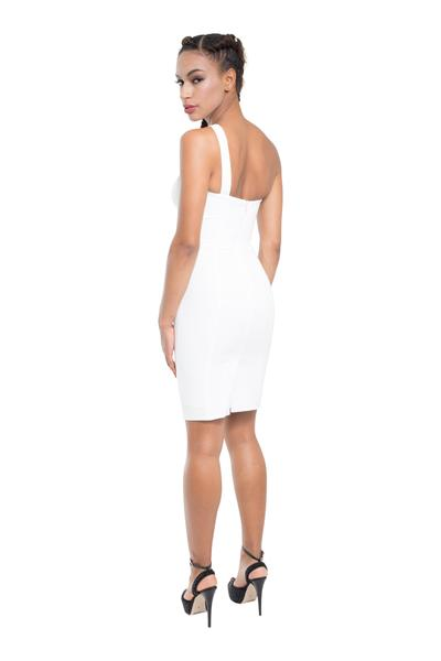 Asymmetrical short dress with double straps