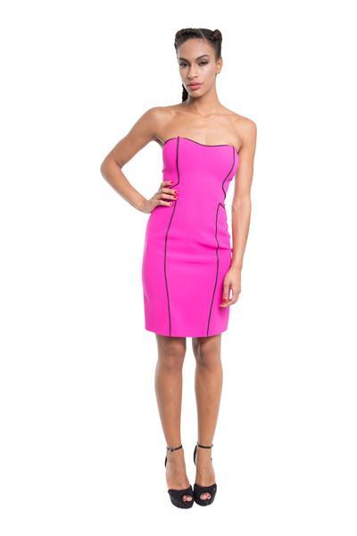 Trägerloses kurzes Kleid mit Streifen
