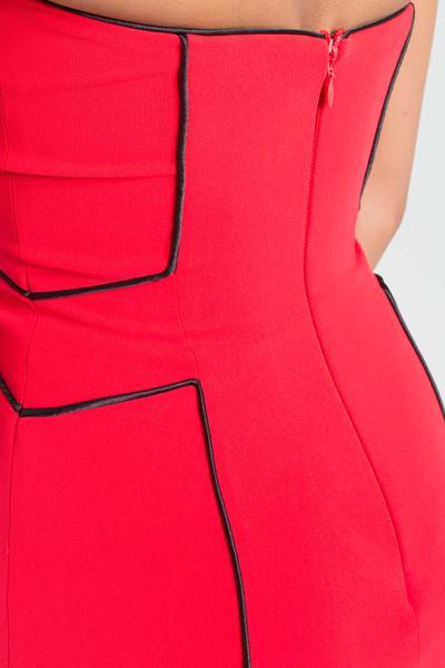 Strapless short dress with stripes Strapless short dress with stripes