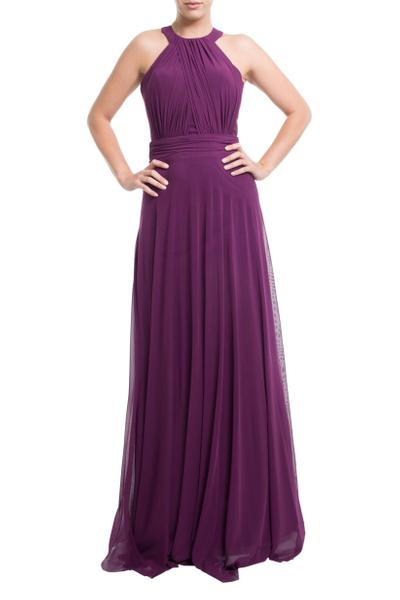 Floor-length evening dress with gathering