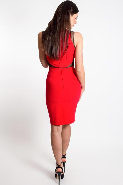 High-necked cocktail dress with cut-outs