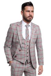 Slim-fit three-piece with checked pattern 001
