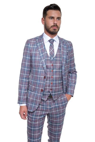 Checkered slim-fit three-piece