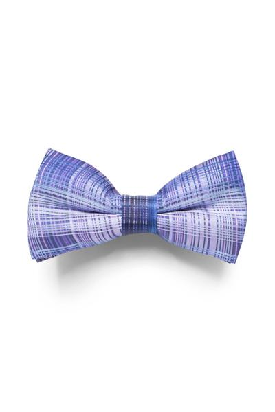 Bow tie with checked pattern in blue