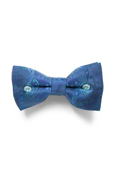 Patterned blue bow tie
