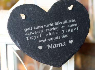 Schieferherz - Mama Spruch Muttertag Tafel Schild