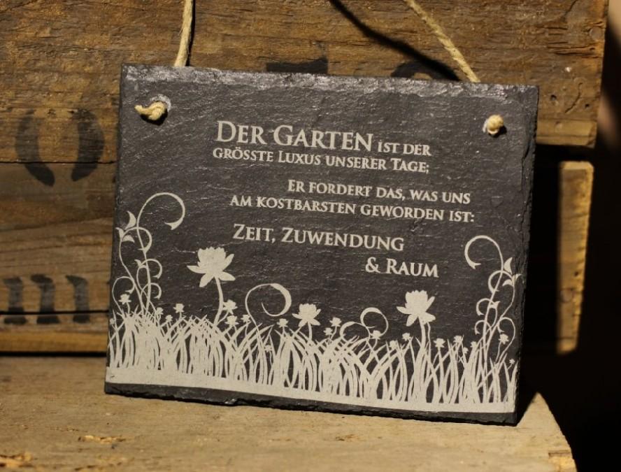 Schiefertafel Gartenspruch Garten Ist Der Grösste Luxus Schiefer