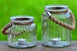 Glas Teelichthalter m. Henkel Windlicht