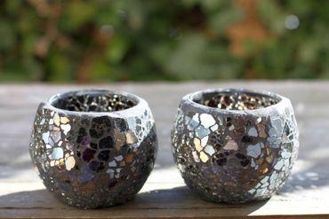 Glas Windlicht Mosaik Teelichthalter schwarz blau Kugel 2er Set