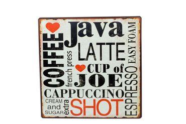 Blechschild Coffee Java Herz Schild Shabby Antik Nostalgie – Bild 1