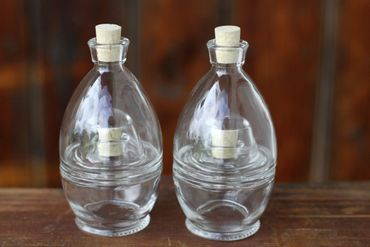 Glasflasche Doppeldecker mit Korkverschluss 4x100ml, 2er Set