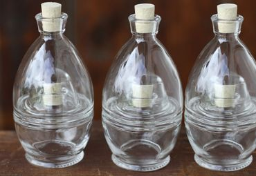 Glasflasche Doppeldecker mit Korkverschluss 6x100ml, 3er Set