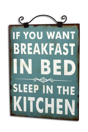 Blechschild if you want Breakfast in Bed Schild Shabby Antik Nostalgie grün