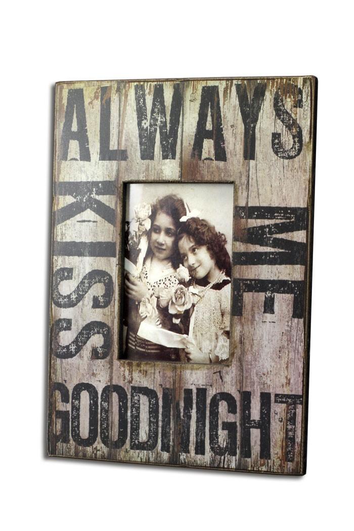 bilderrahmen always kiss me tonight shabby vintage fotorahmen. Black Bedroom Furniture Sets. Home Design Ideas