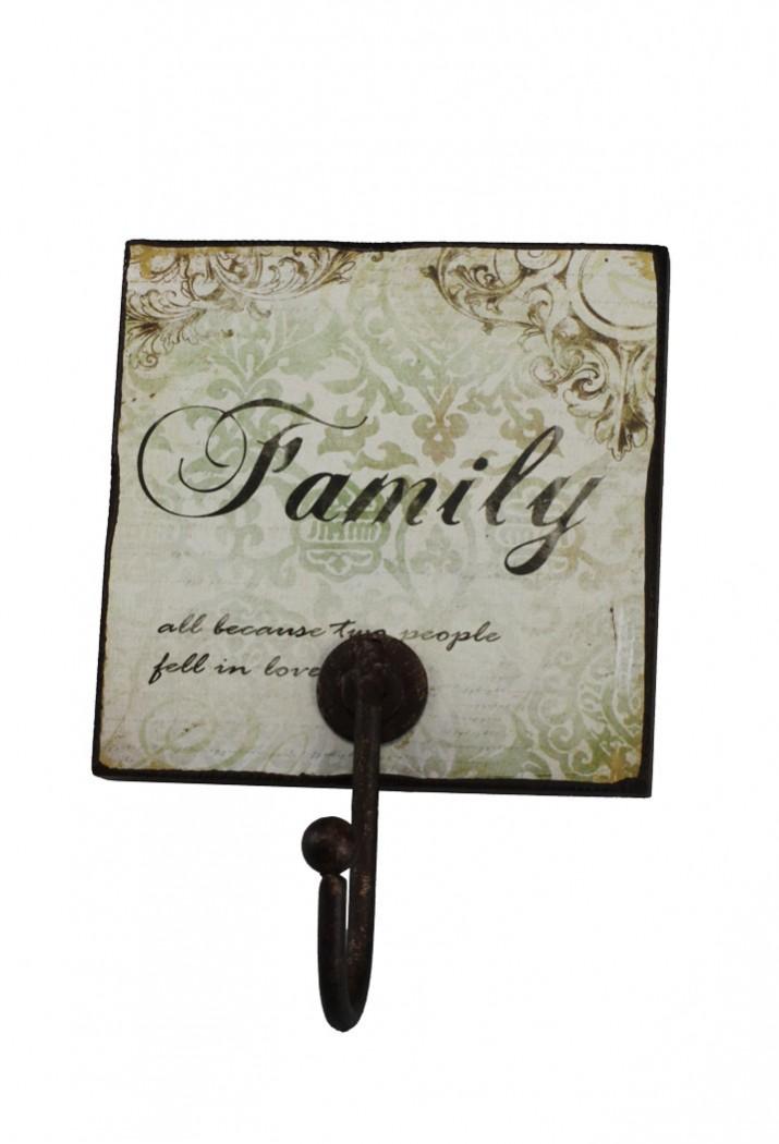 Vintage wandhaken family holz schild mit metall haken - Vintage wandhaken ...