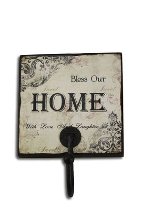 Wandhaken Home Holz- Schild mit Metall Haken