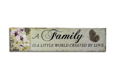 Blechschild Family is a little world Shabby Chic Schild – Bild 1