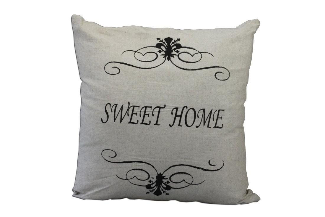 kissen home sweet home zierkissen beige. Black Bedroom Furniture Sets. Home Design Ideas