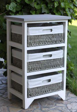 landhaus kommode garderobe schrank weiss regal 3 weidenk rbe schublade. Black Bedroom Furniture Sets. Home Design Ideas