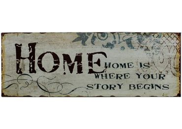 Blechschild Home is where your story begins Shabby Chic Schild
