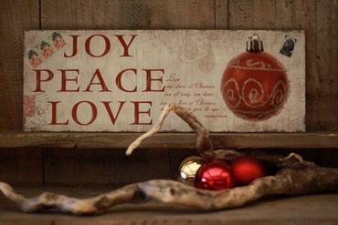 Blechschild Joy Peace Love Shabby Nostalgie