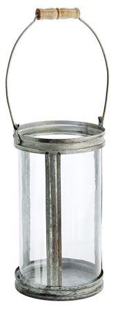 Glaswindlicht mit Metallrahmen Henkel mit Holz- Griff Laterne Höhe 28cm