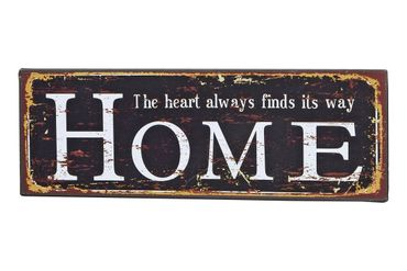 Schild Türschild - Home heart always finds its way - Shabby Vintage Blechschild