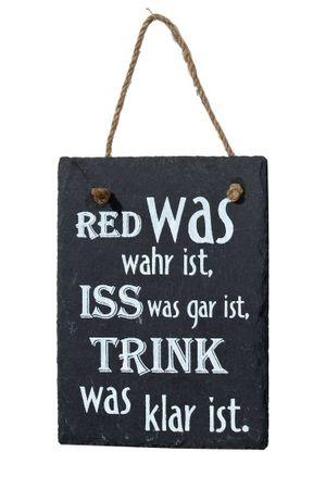 Schiefertafel -Red was wahr ist... Dekoschild mit Kordel zum hängen