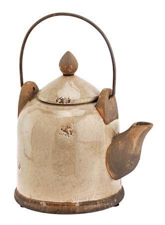 Dekokessel Keramik Kanne Teekanne Shabby Landhaus in grau H23cm