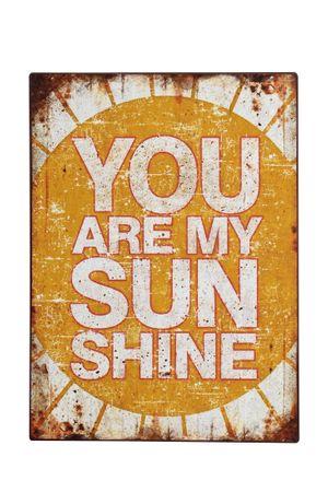 Blechschild you are my Sunshine Shabby Antik Nostalgie Rost- gelb