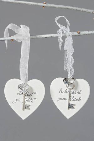 Anhänger Herz -Schlüssel zum Glück- Tags Shabby Landhaus weiß 2er Set