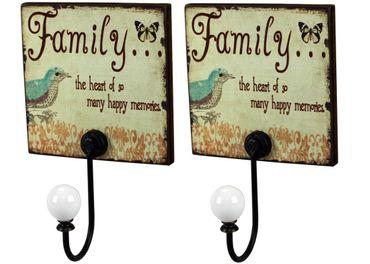 Wandhaken Family -Heart of happy memories- Schild mit Metall Haken 2er Set