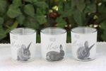 Glas Windlicht Oster Häschen Teelichthalter mit Hasenmotiv 3er Set