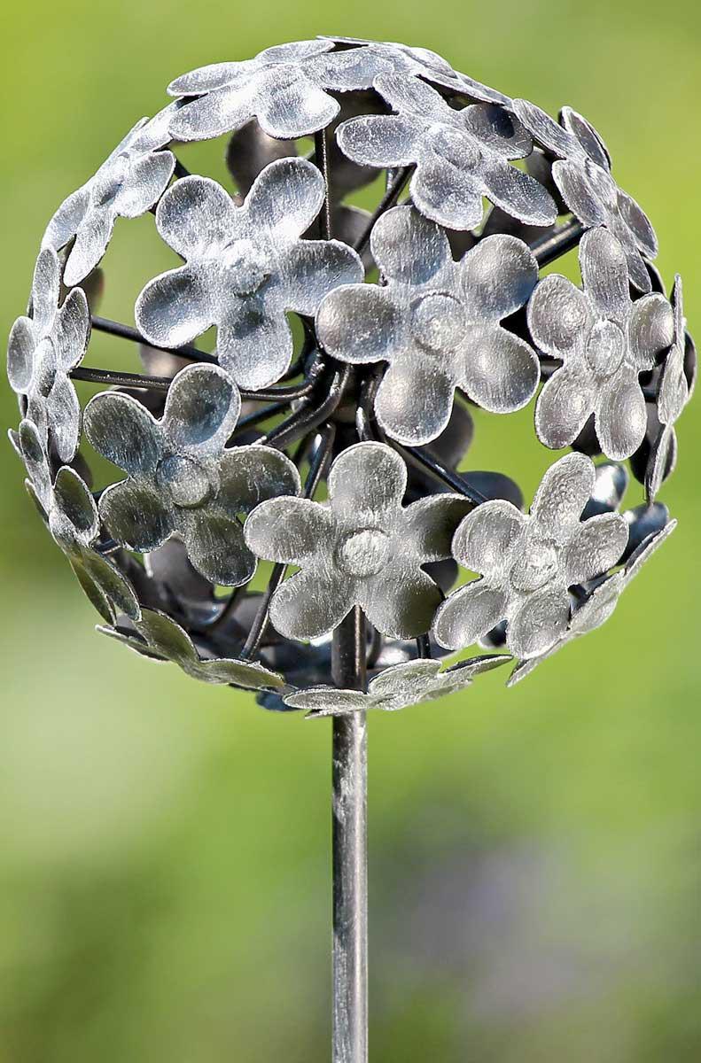 """gartenstab """"kugel"""" gartenstecker metall h 110cm, blumen muster, Hause und Garten"""