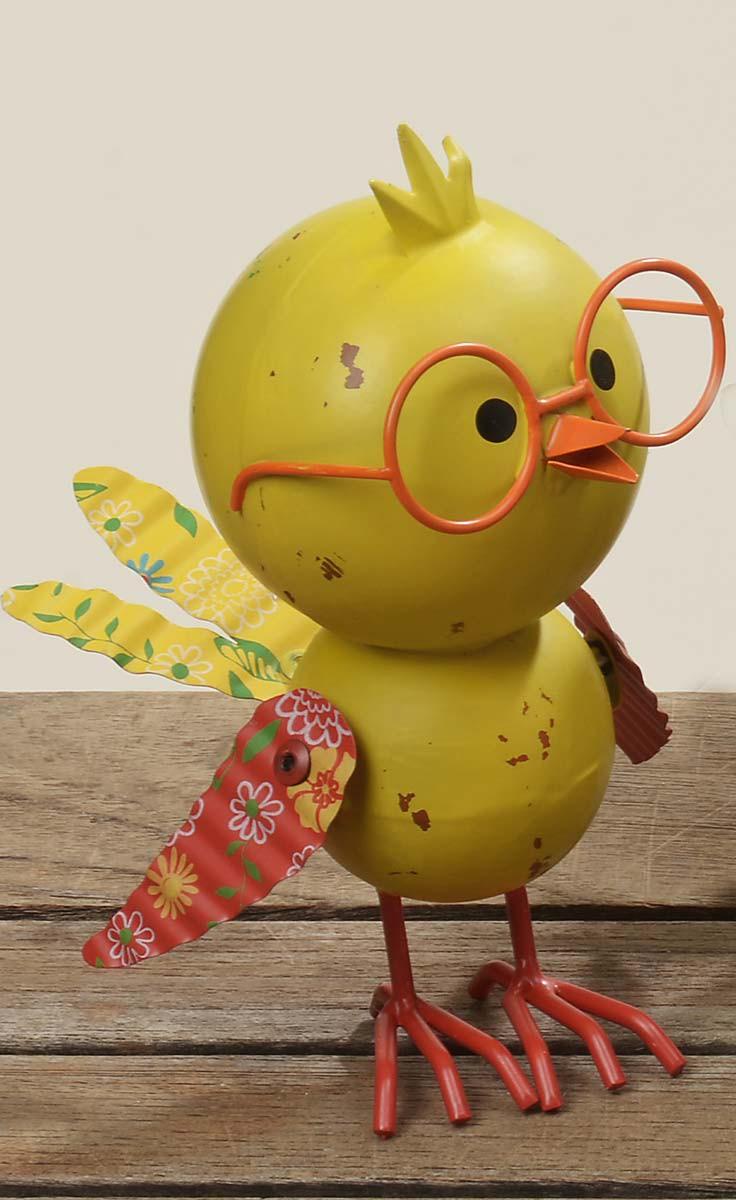 Bunter Deko Vogel  Figur Tweety mit Brille H 17cm aus Metall