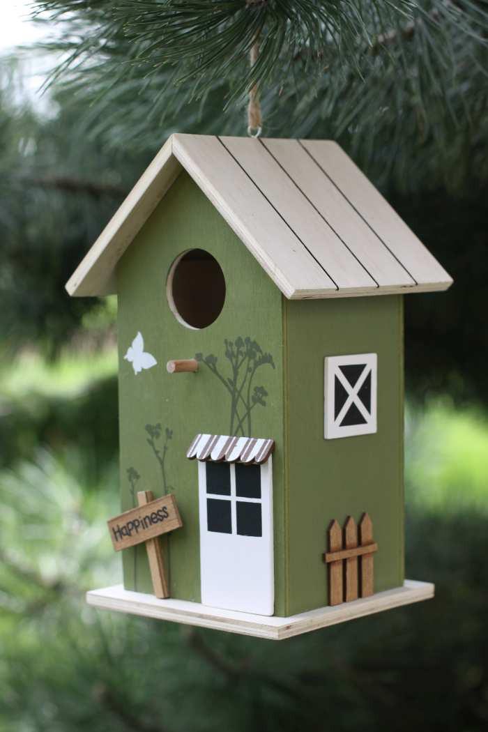vogelhaus happiness shabby landhaus deko nistkasten helles holz dach. Black Bedroom Furniture Sets. Home Design Ideas